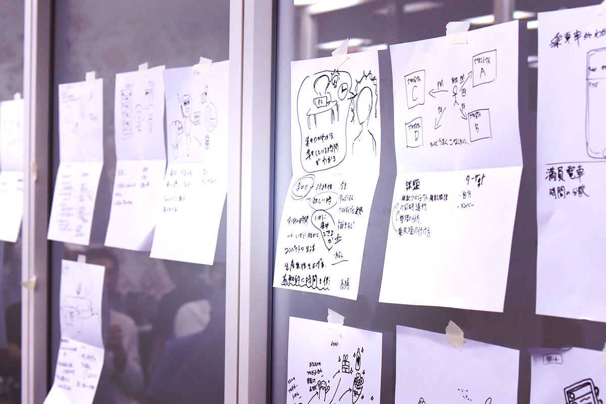 初日は、個別に書き出したアイディアにみんなで投票する流れでチームを結成します。